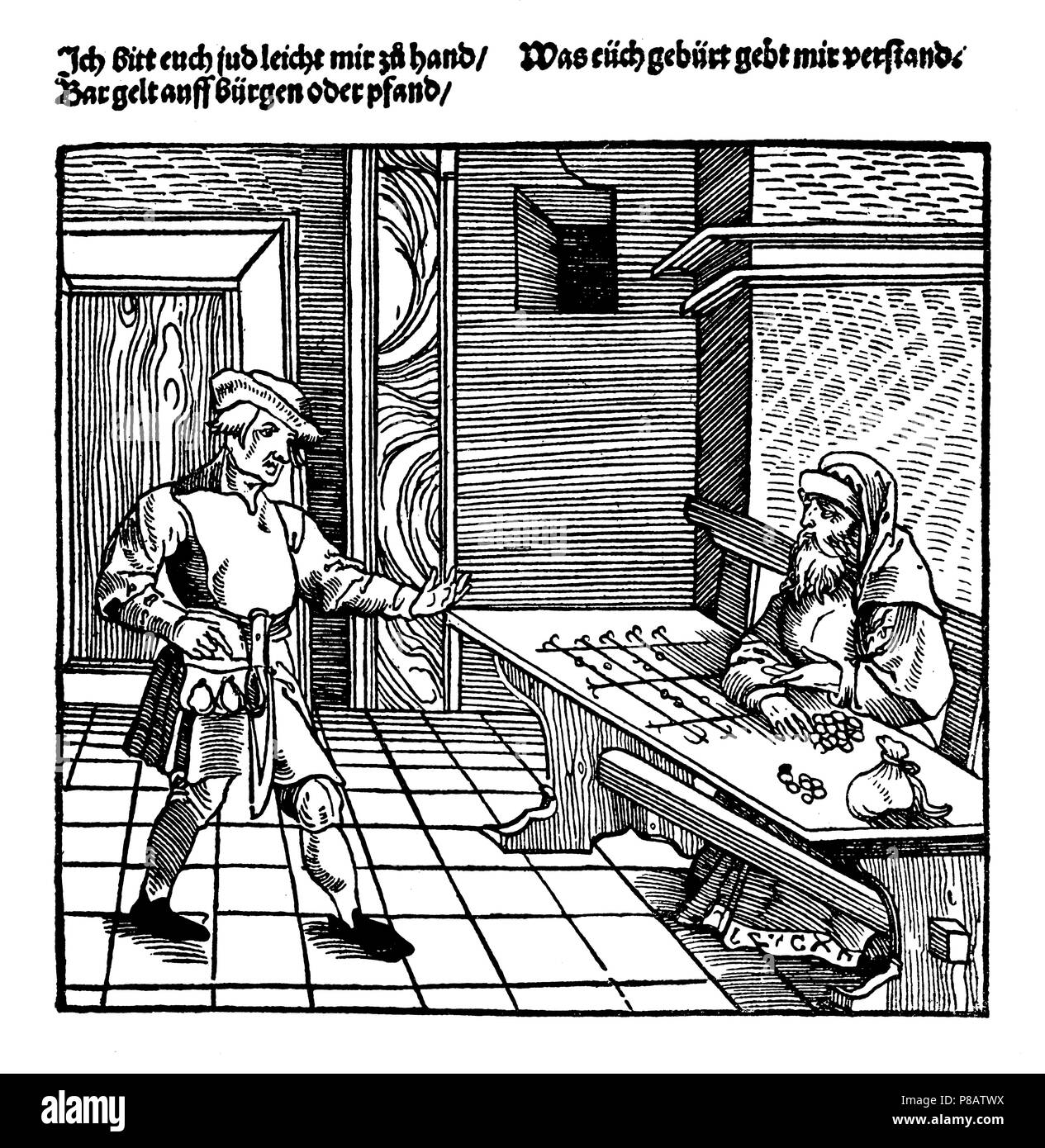 Farmer and Jewish money lender. The lender sits in front of a billboard. After an Augsburg woodcut from the year 1531,   1923 Stock Photo