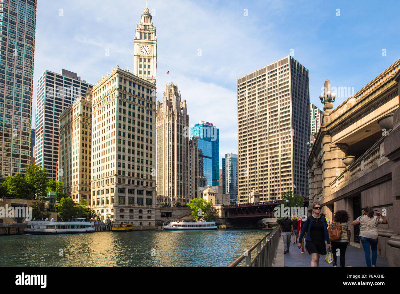 CHICAGO, ILLINOIS - JUNE 25, 2018: View of the city of Chicago as seen from the river with buildings and boats in view. Stock Photo