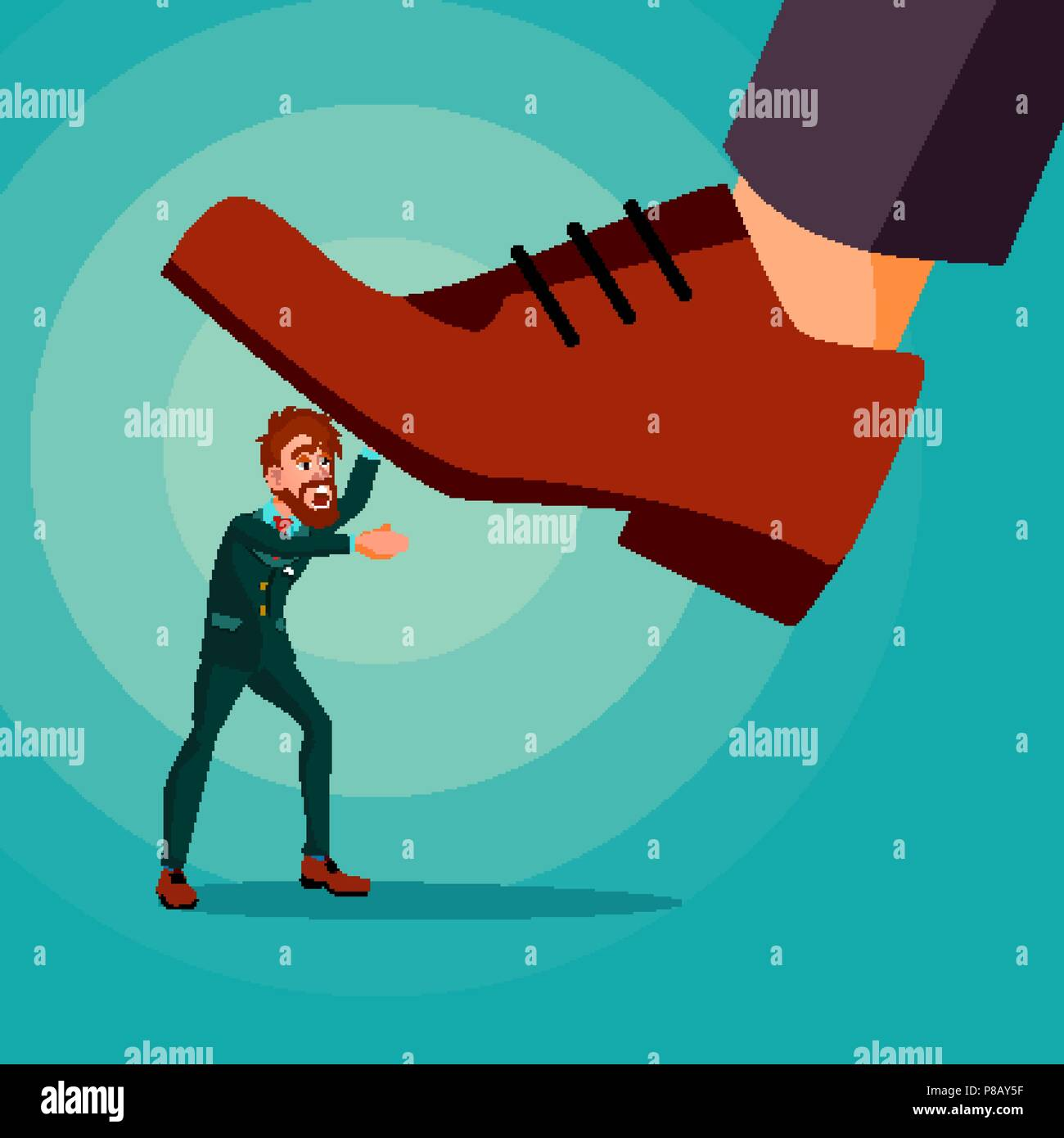 Big Foot Stepping On Businessman Vector. Shoes. Stomping Foot. Oppressed. Confrontation Strategy. Cartoon Illustration - Stock Image