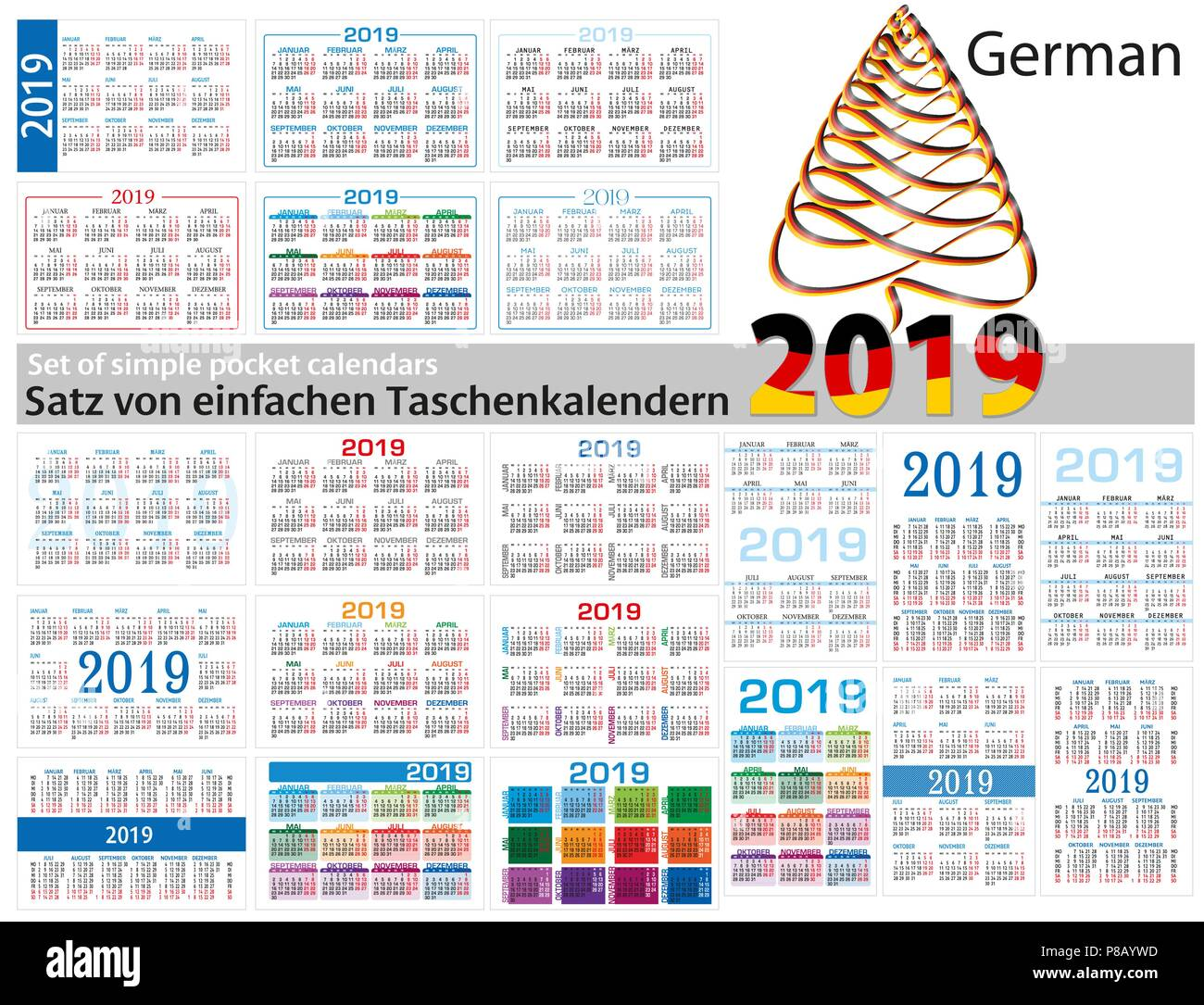 Set of simple calendars in German on 2019 Two thousand nineteen . Week starts Monday. - Stock Image