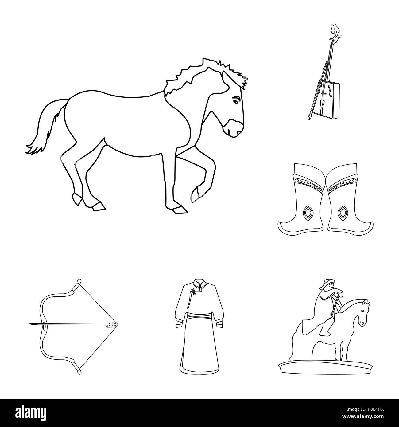 Country Mongolia outline icons in set collection for design.Territory and landmark vector symbol stock  illustration. - Stock Vector