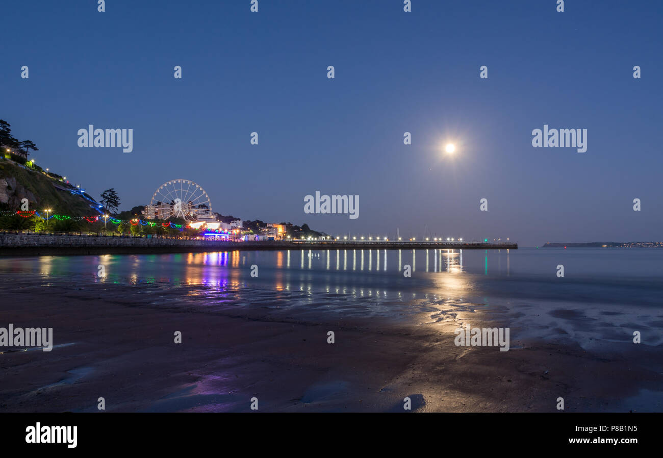 Torquay By Moonlight - Stock Image