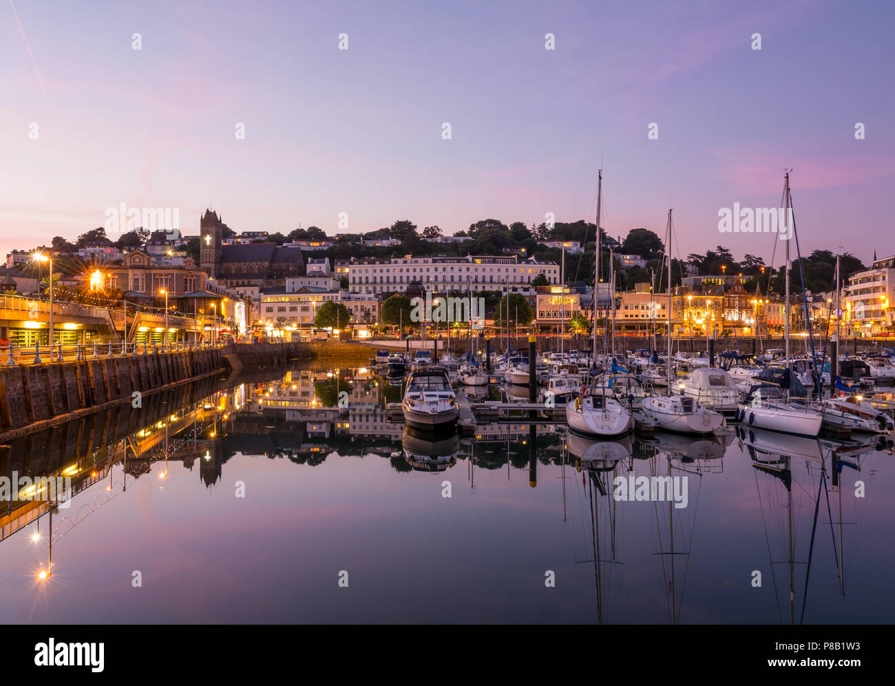 Torquay Harbour By Twilight Stock Photo