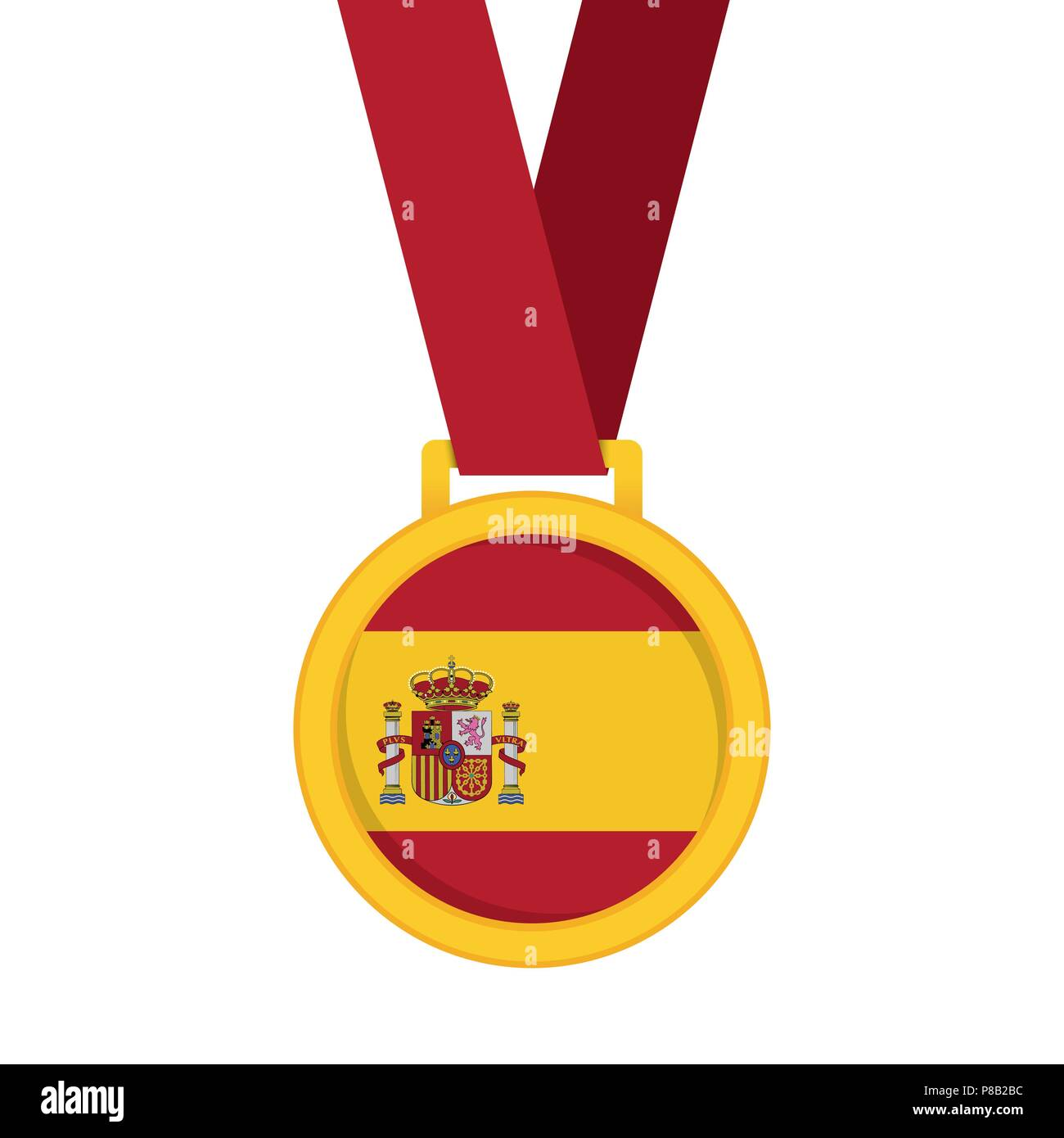 Spain national flag gold first place winners medal Stock Vector Art ...