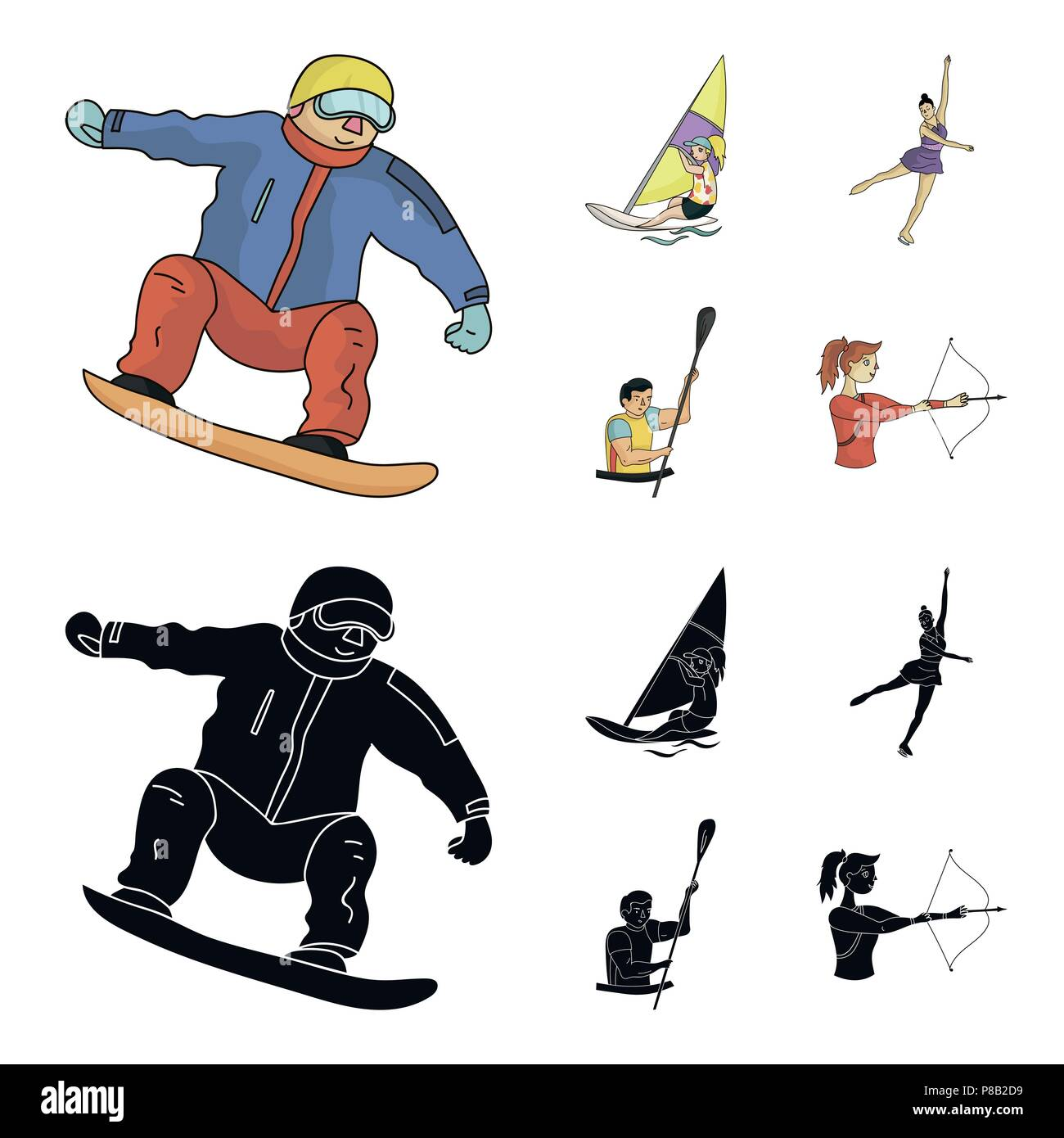 Snowboarding, sailing surfing, figure skating, kayaking. Olympic sports set collection icons in cartoon,black style vector symbol stock illustration . - Stock Vector