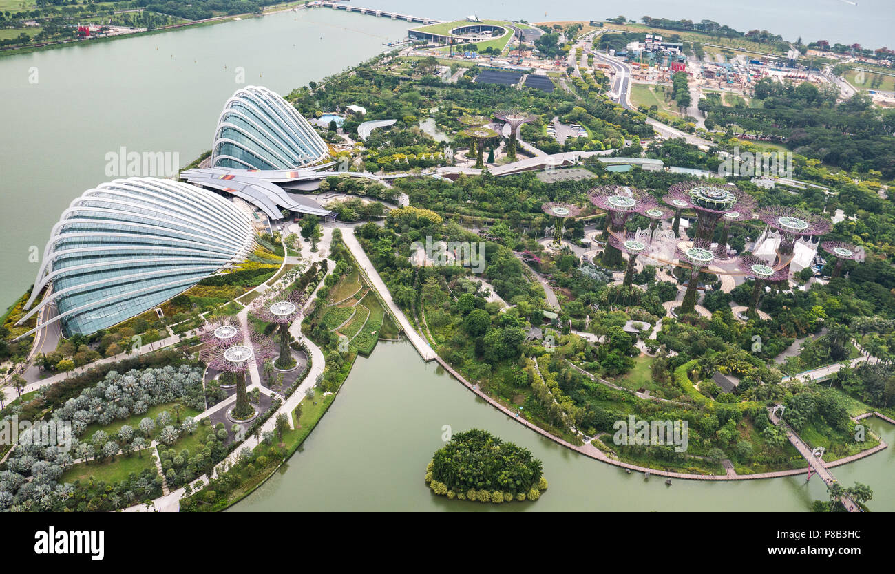 Gardens by the Bay Singapore aerial view in daytime  Flower and
