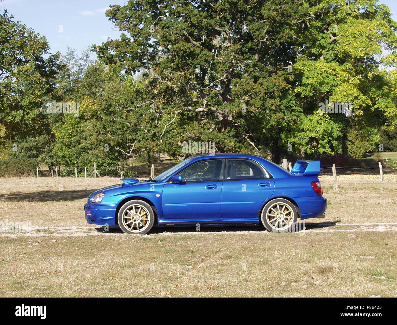 Wrx Stock Photos Images Alamy Blue Sti With White Rims Subaru Impreza In Wr Pearl Colour Alloy Wheels Showing Side Profile