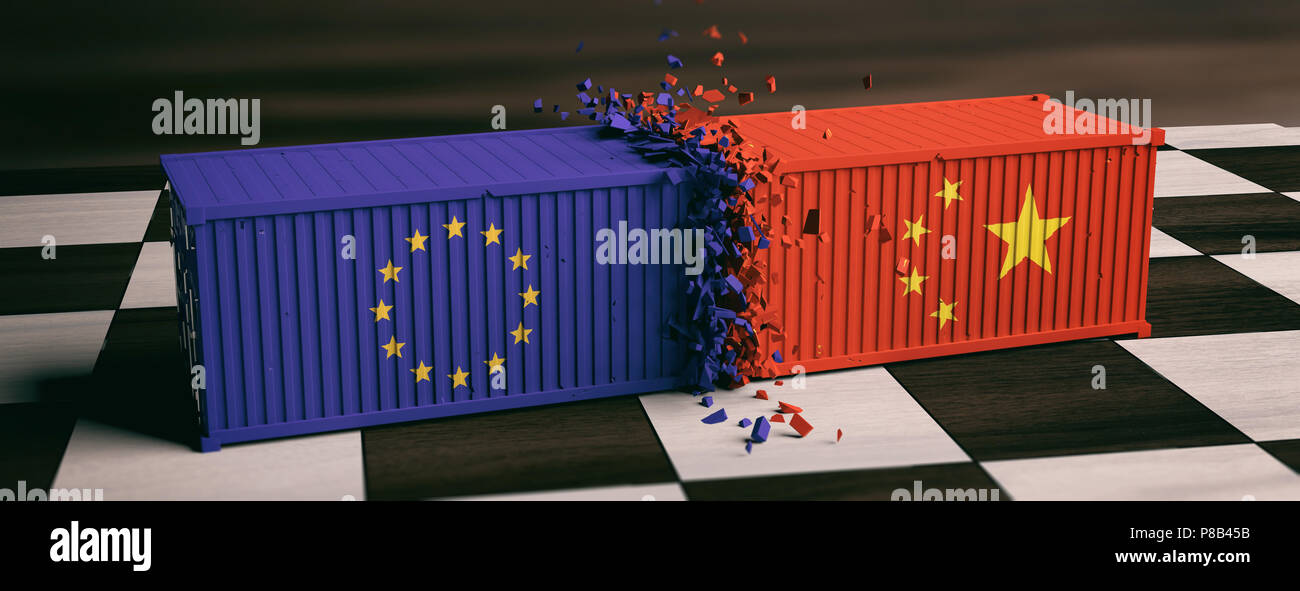 USA and EU trade. US of America and European Union flags crashed containers on chessboard. 3d illustration - Stock Image