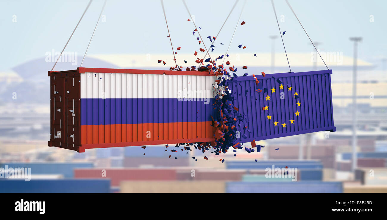 Russia and EU trade. Russian and European Union flags crashed containers on blue sky background. 3d illustration - Stock Image