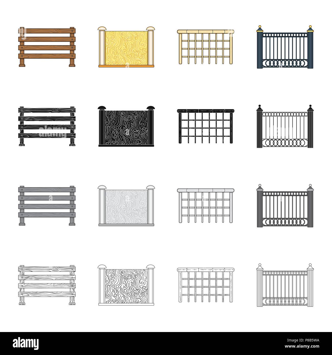 Fence, post, pillar, and other  icon in cartoon style.Stone, granite, palisade, icons in set collection. - Stock Vector