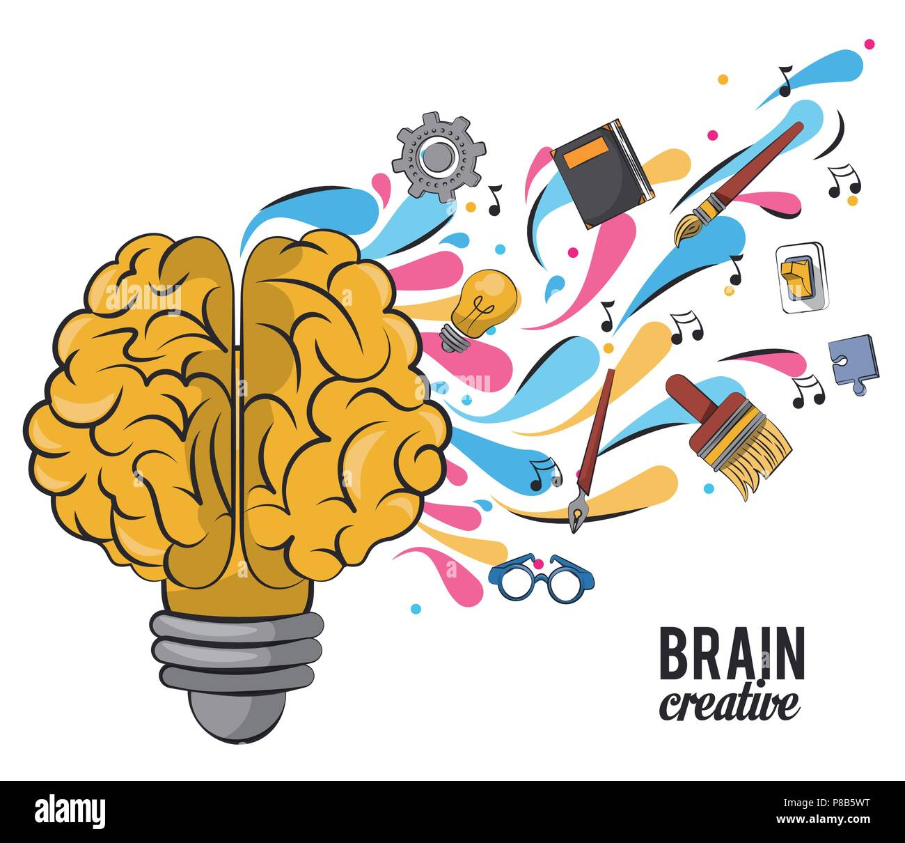 Creative Brain Cartoons Stock Vector Art Illustration