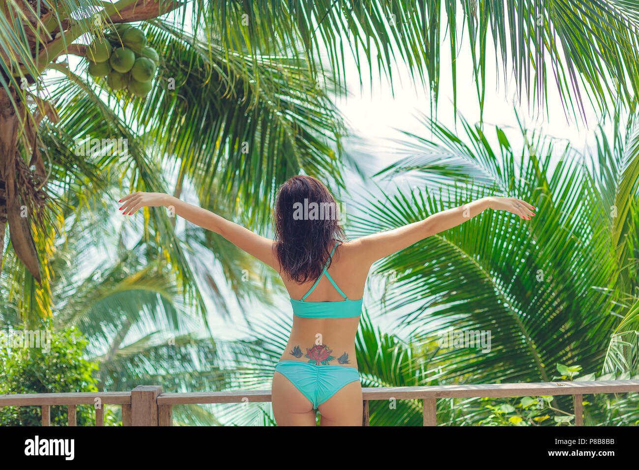 rear view of beautiful girl in bikini standing with open arms at swimming pool - Stock Image