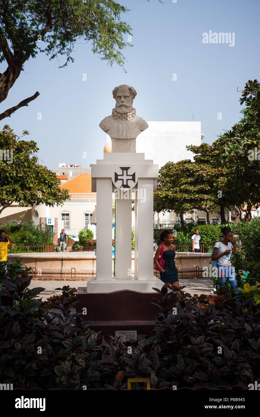 MINDELO, CAPE VERDE - DECEMBER 08, 2015: Statue of Luis Vaz de Camoes in the park square. Portuguese poet of the XVI century Stock Photo