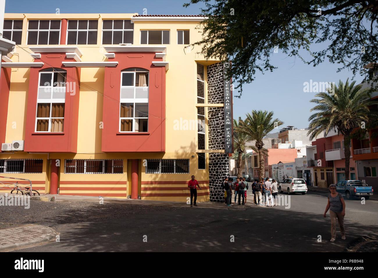 MINDELO, CAPE VERDE - DECEMBER 07, 2015: Students at the Jean Piaget University building Stock Photo