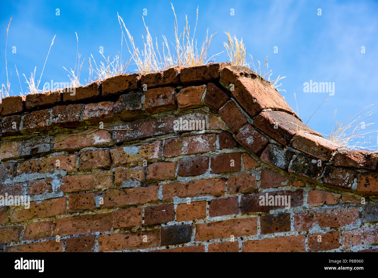 Marks Hall Gardens and Arboretum Coggeshall Colchester, Essex, UK.18th century brick-wall.1700's, architecture, brickwork. - Stock Image