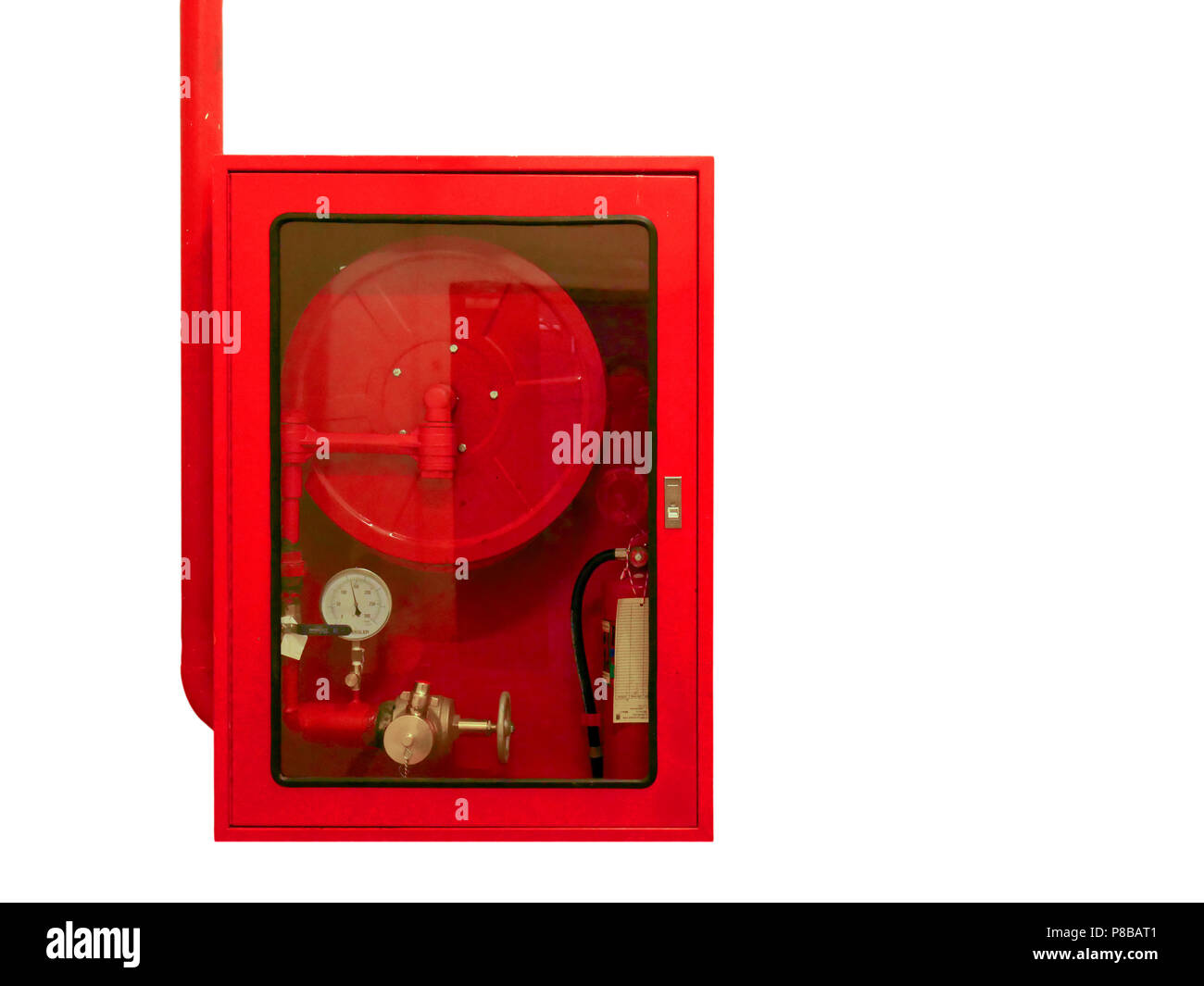 Fire water hoses and fire extinguisher equipment in red cabinet isolate on white background. - Stock Image