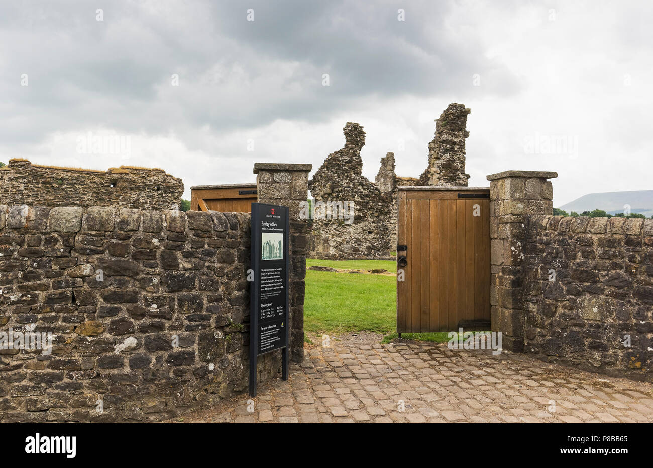 Entrance to the remains of Cistercian Sawley Abbey in the village of Clitheroe in lancashire, UK founded around 1148. - Stock Image