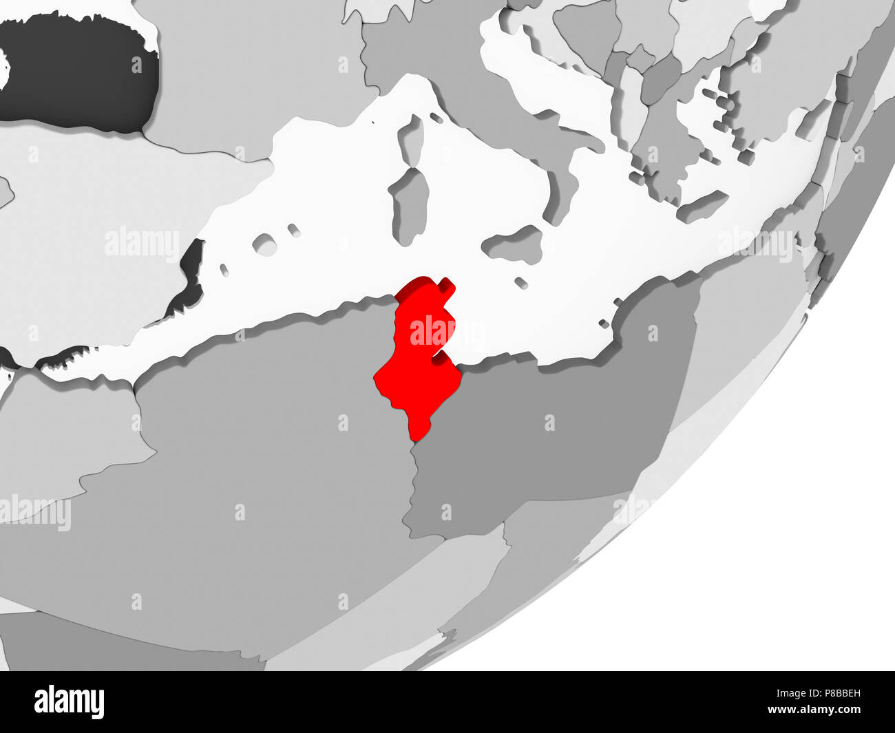 Picture of: Illustration Of Tunisia Highlighted In Red On Grey Globe With Transparent Oceans 3d Illustration Stock Photo Alamy