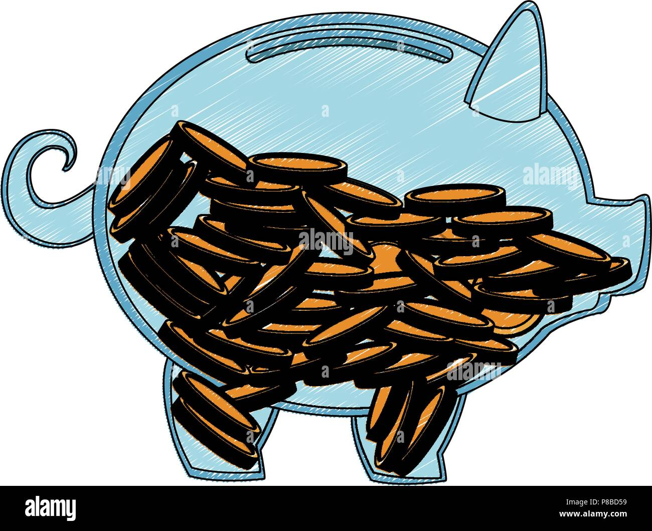 transparent piggy with coins scribble Stock Vector