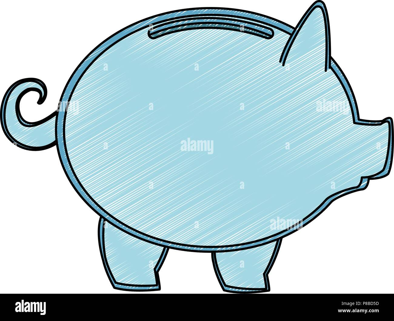 Empty transparent piggy scribble Stock Vector