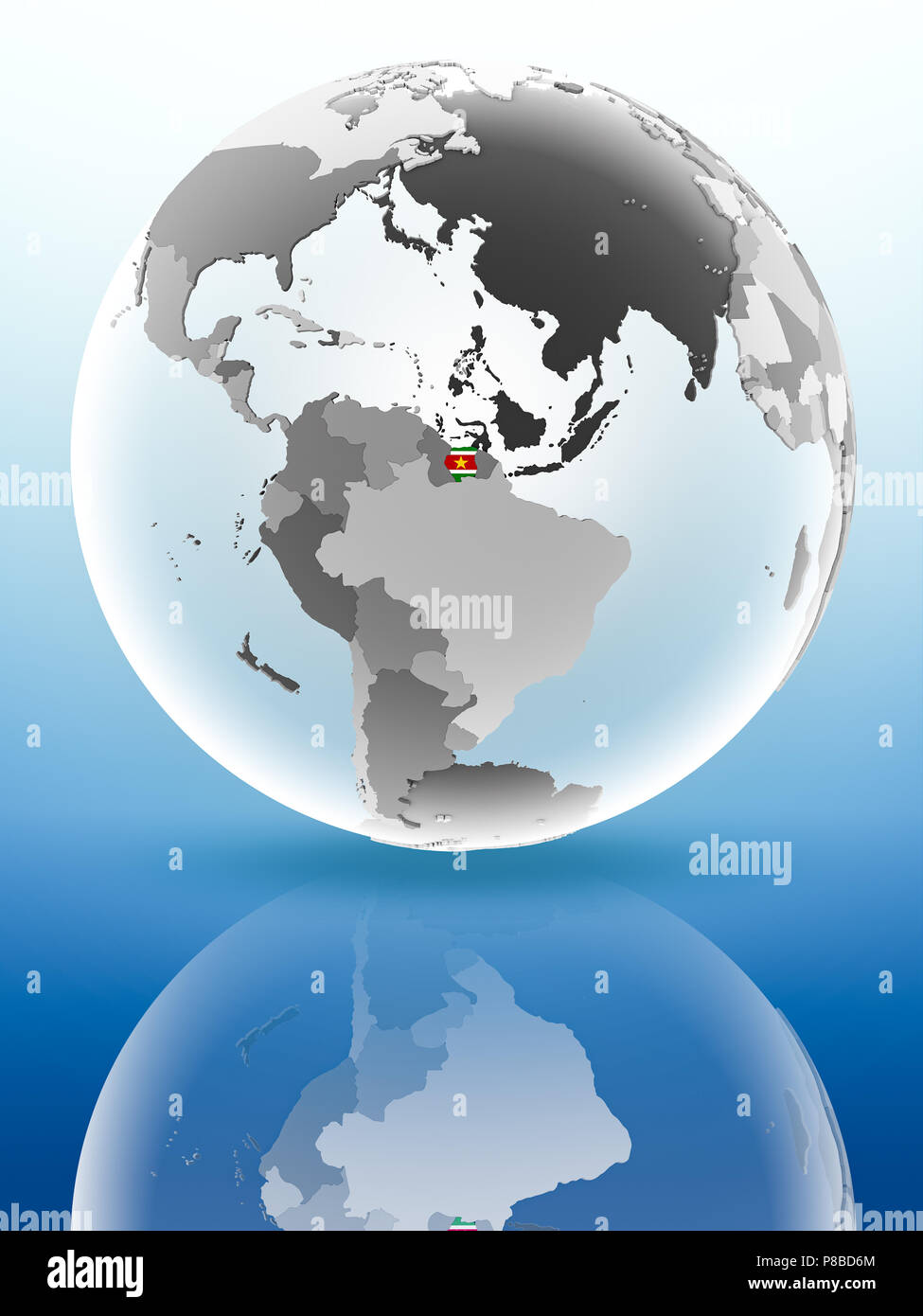 Suriname with flag on globe reflecting on shiny surface. 3D illustration. - Stock Image