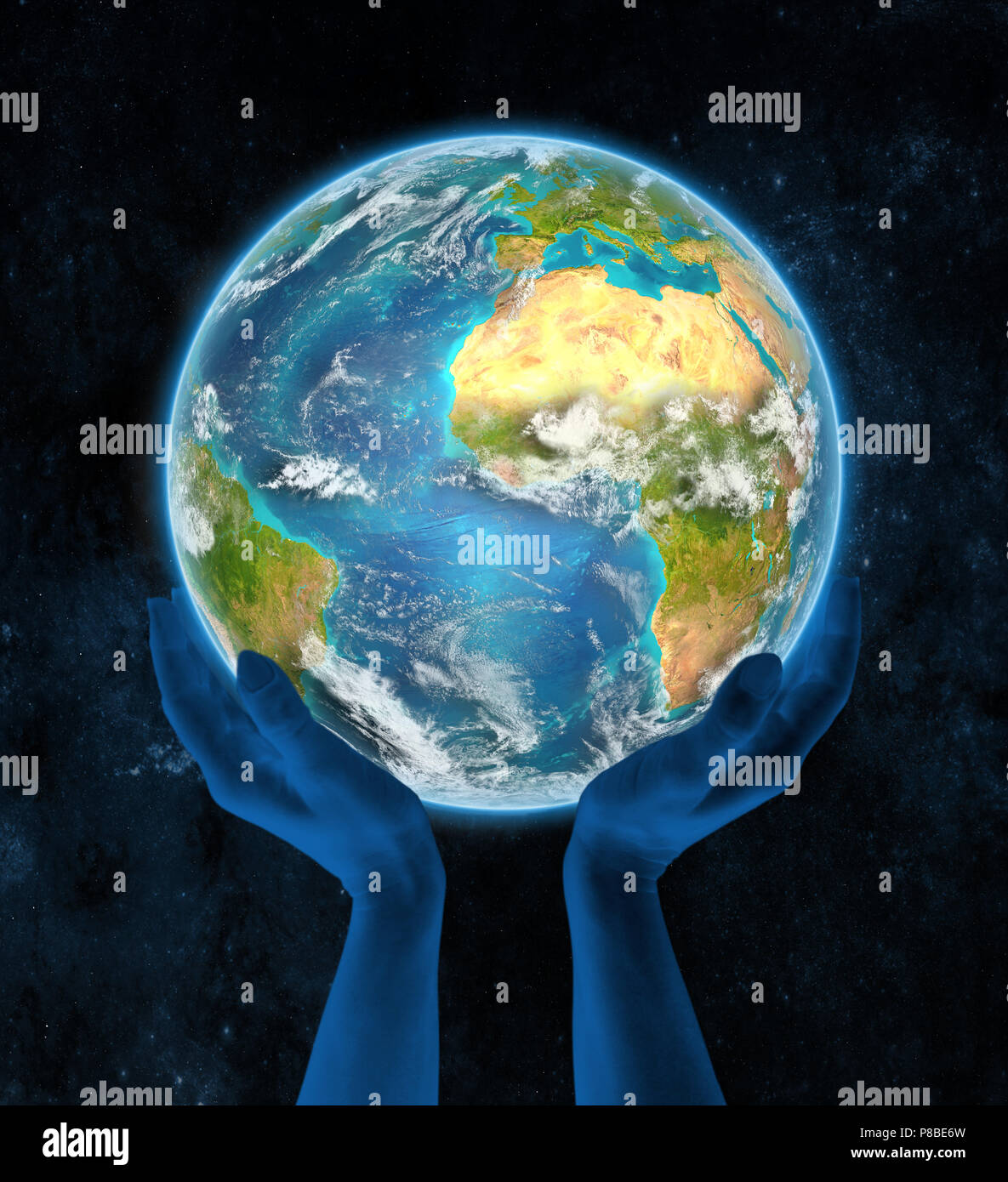 Liberia on Earth in hands in space. 3D illustration. - Stock Image