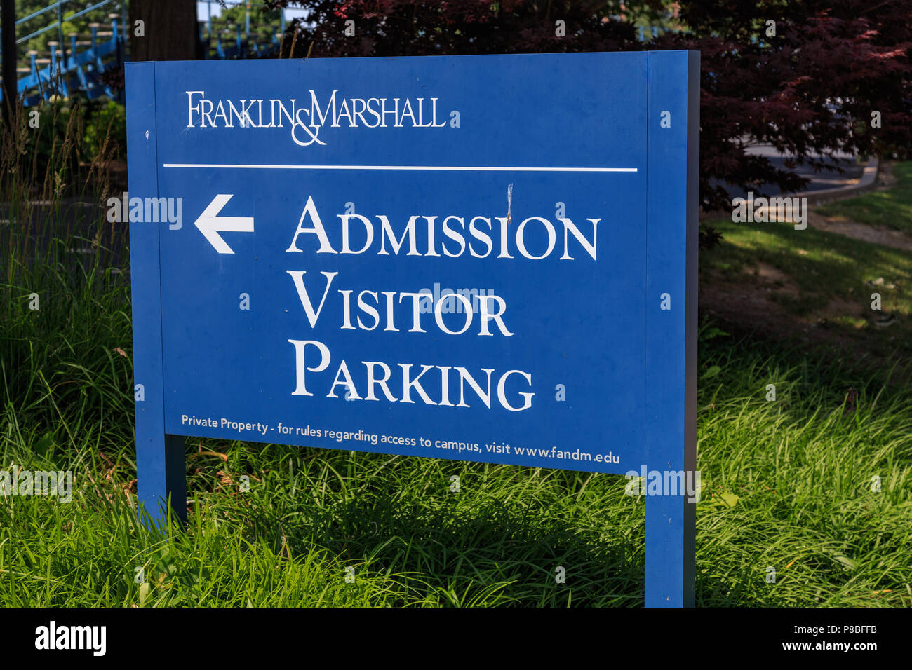 Lancaster, PA, USA - June 25, 2018: The Admissions Office sign at the Franklin and Marshall College campus in a Lancaster City. - Stock Image