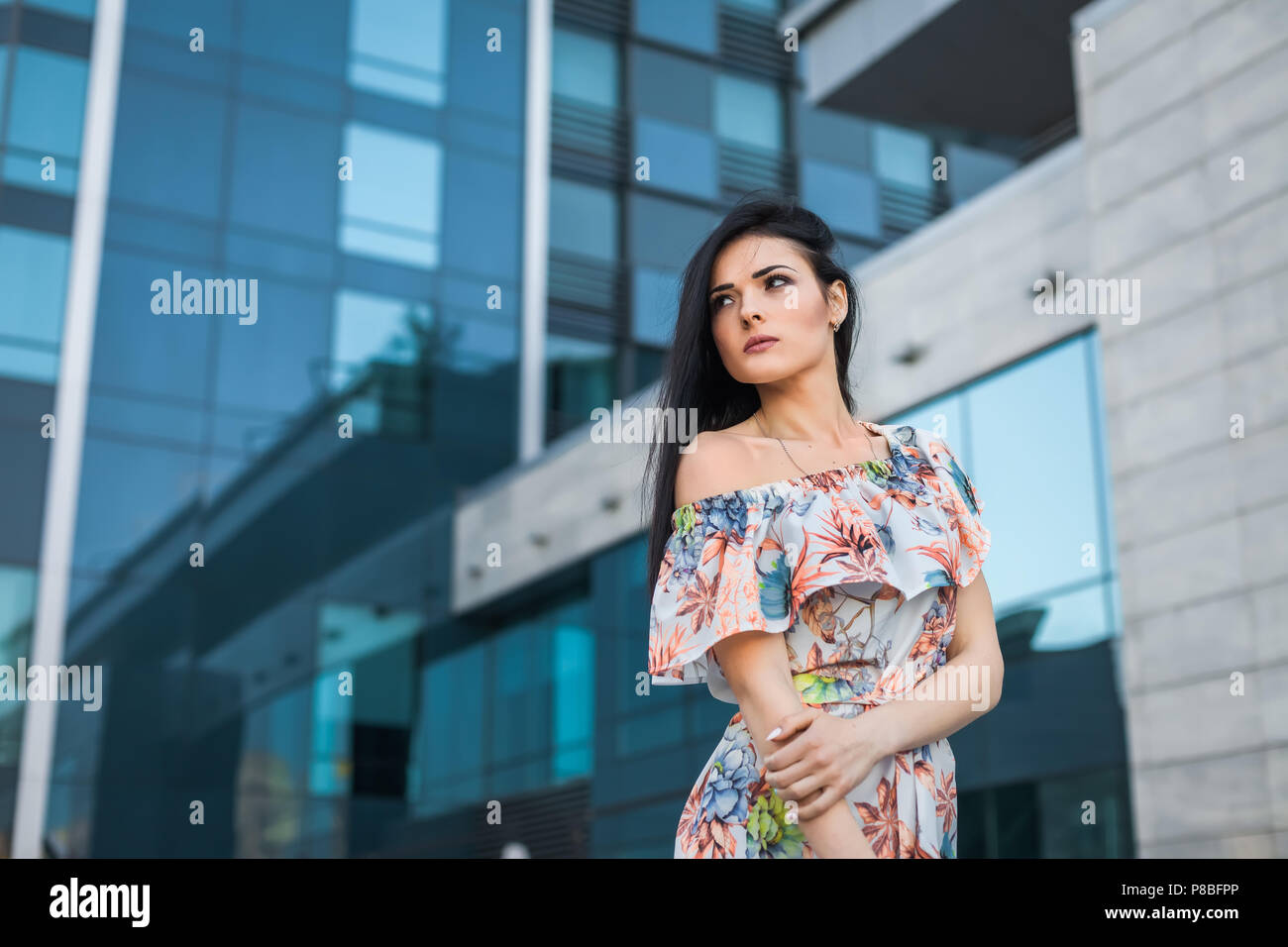 thoughtfull girl in the city - Stock Image