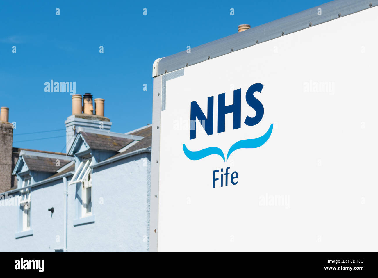 NHS Fife sign on side of lorry, Scotland, UK - Stock Image