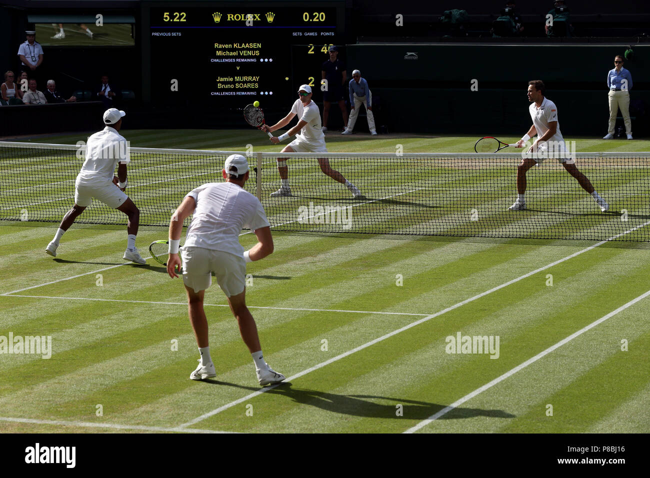 Jamie Murray And Bruno Soares Far Court In Action On Day Eight Of