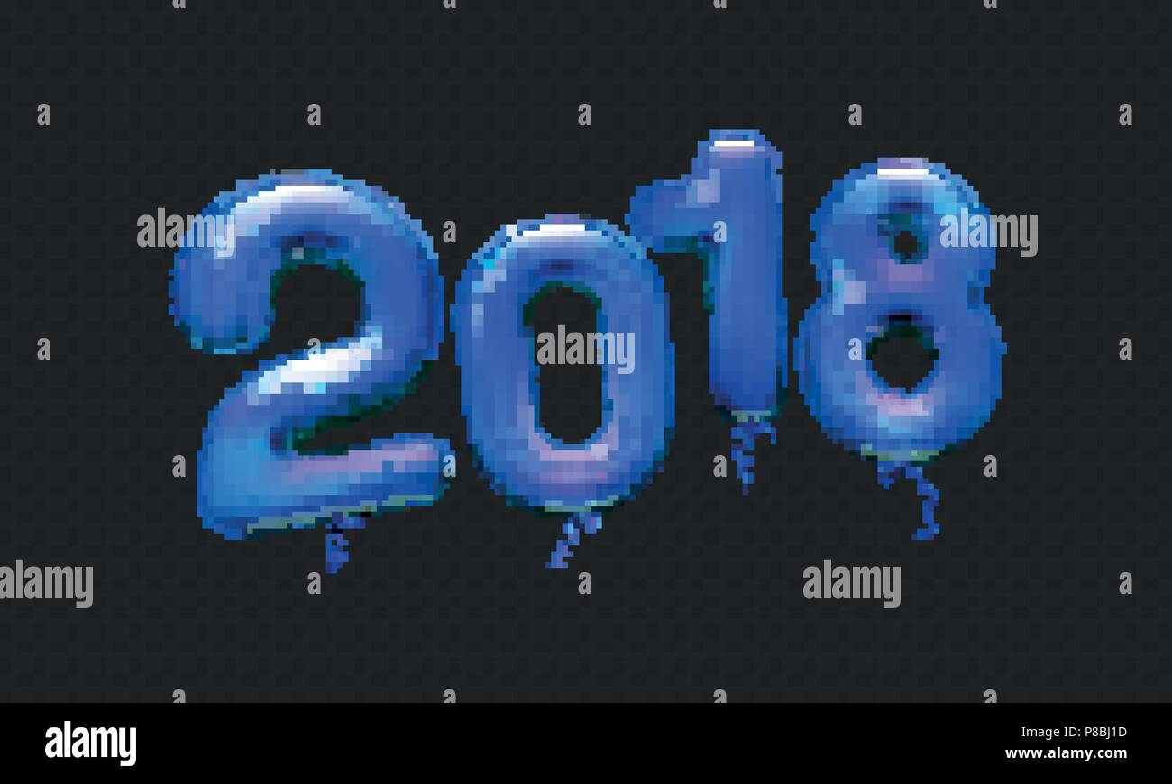 stock vector illustration realistic 3d dark blue numbers balloons 2018 isolated on a transparent checkered background happy new year