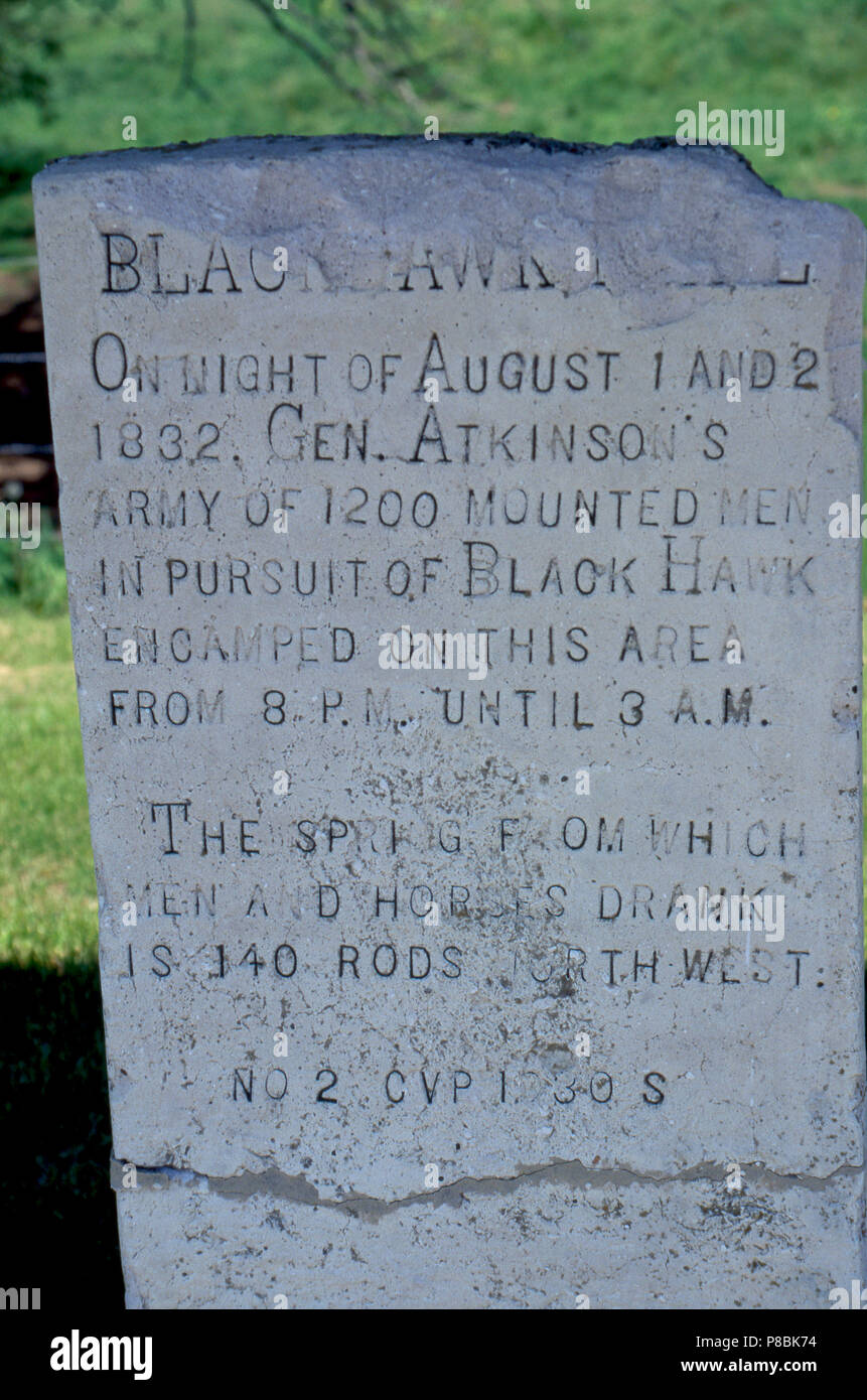 Black Hawk War skirmish marker on the Black Hawk Trail to Bad Axe, Wisconsin. Photograph - Stock Image
