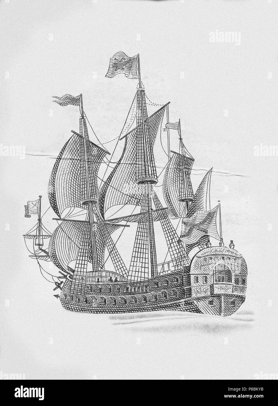 Russian ship of the line Poltava (1712). Museum: Russian State Library, Moscow. Stock Photo