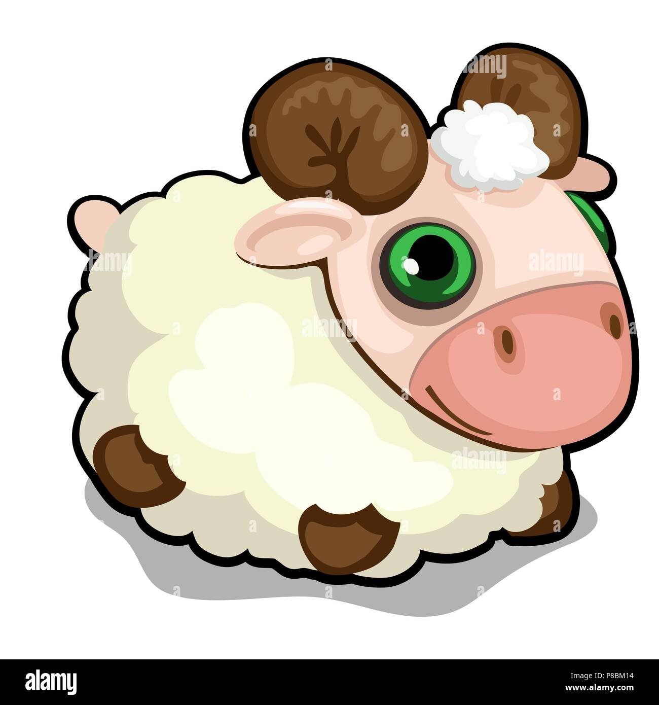 Toy sheep with green eyes isolated on white background. Vector cartoon close-up illustration. - Stock Vector