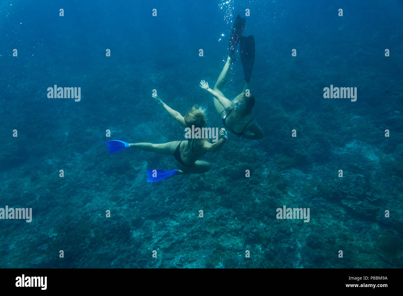 underwater photo of young friends in bikinis diving in ocean Stock Photo