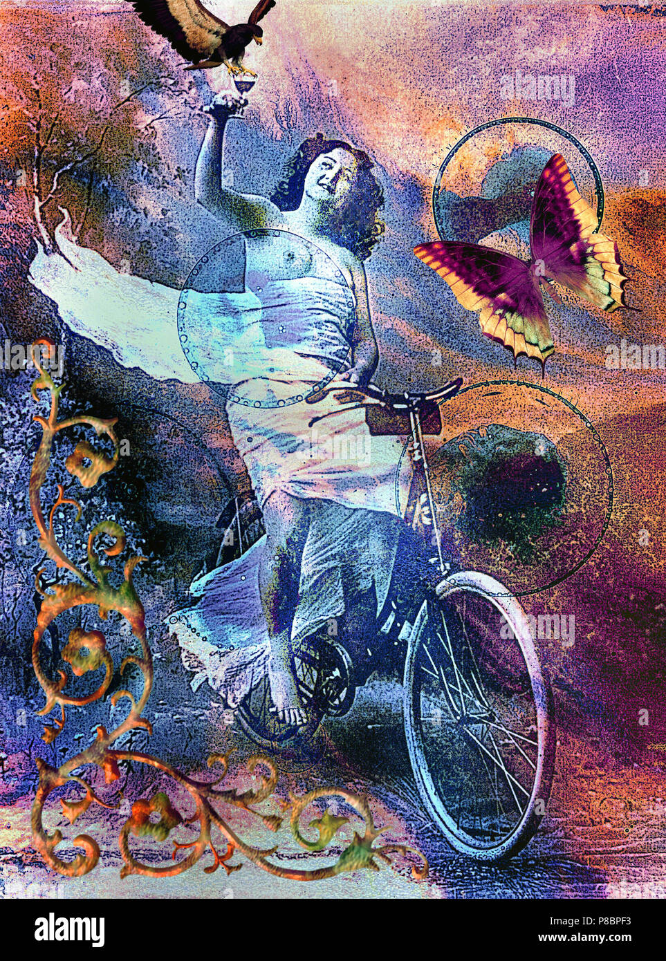 A celestial,steam punk,vintage semi nude girl cyclist holding up a glass of wine, appears to be quite happy in life.Elements of space, universe in it. Stock Photo