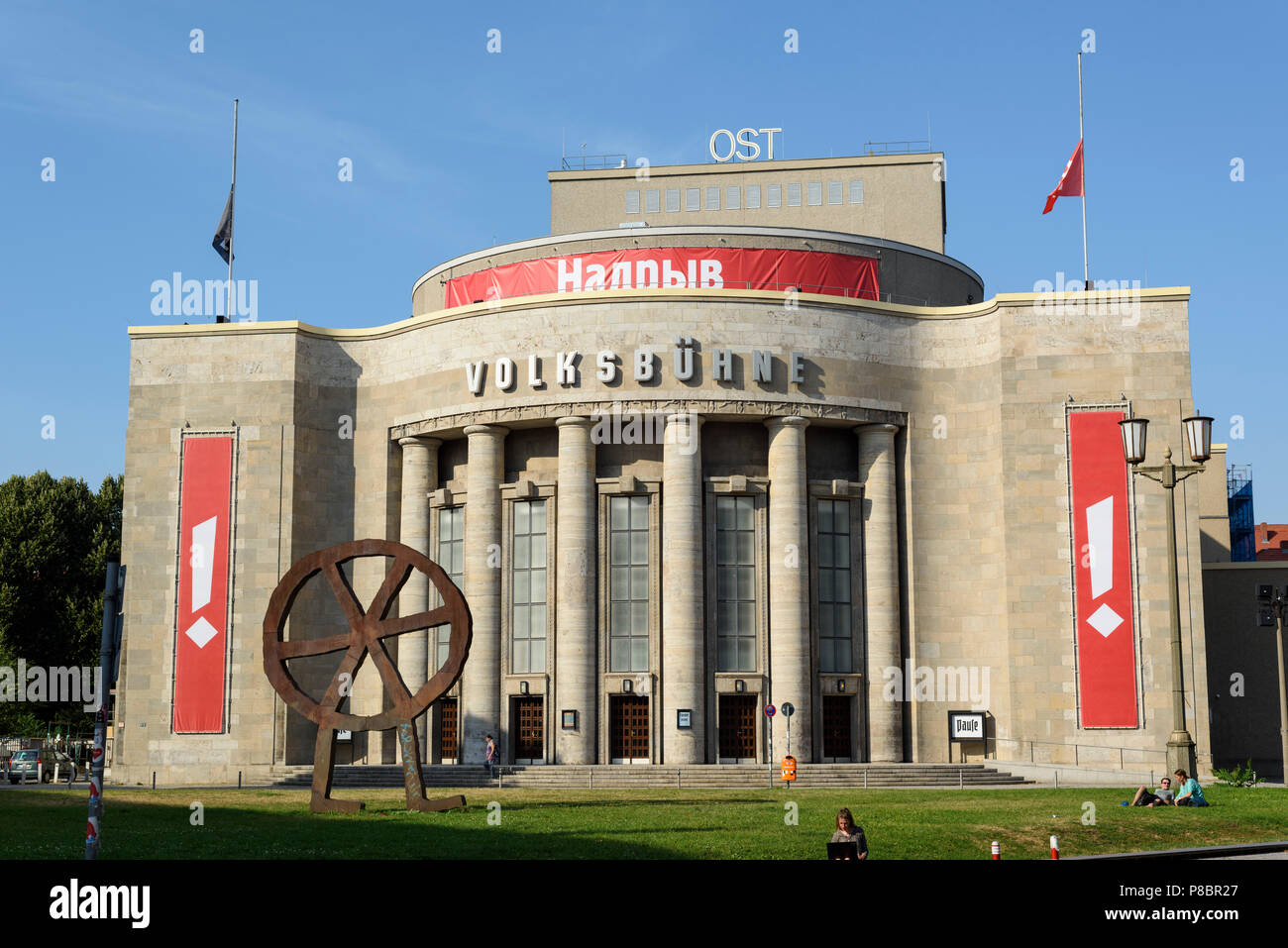Berlin. Germany. Volksbühne 'People's Theatre', on Rosa-Luxemburg-Platz.  Designed by Oskar Kaufmann and built 1913-1914, after bombing in WW2 it was  - Stock Image