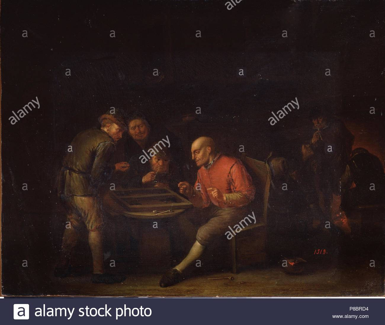 Flemings Playing Dice. Museum: State Open-air Museum Palace Gatchina, St. Petersburg. - Stock Image