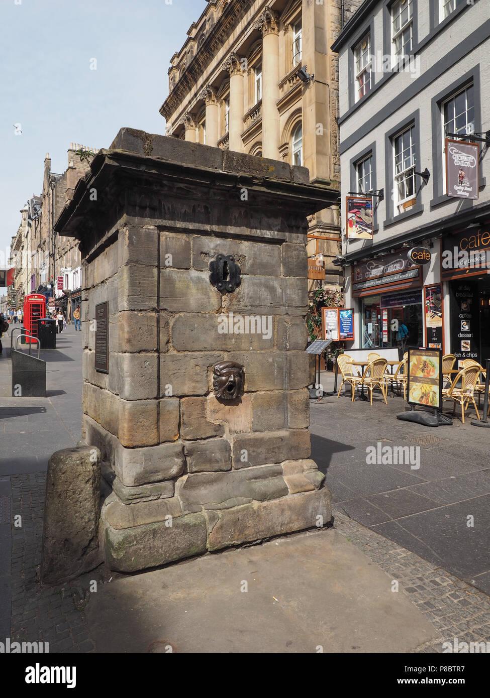 EDINBURGH, UK - CIRCA JUNE 2018: Netherbow wellhead cistern Stock Photo