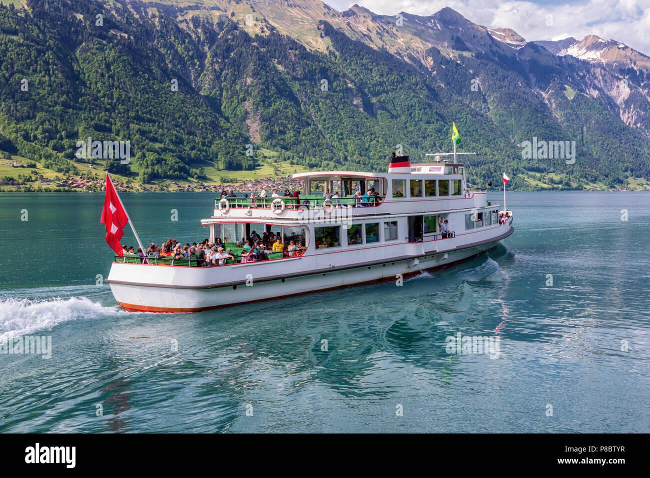 Cruising steamer boat on Lake Brienz, Bernese Oberland, Switzerland - Stock Image