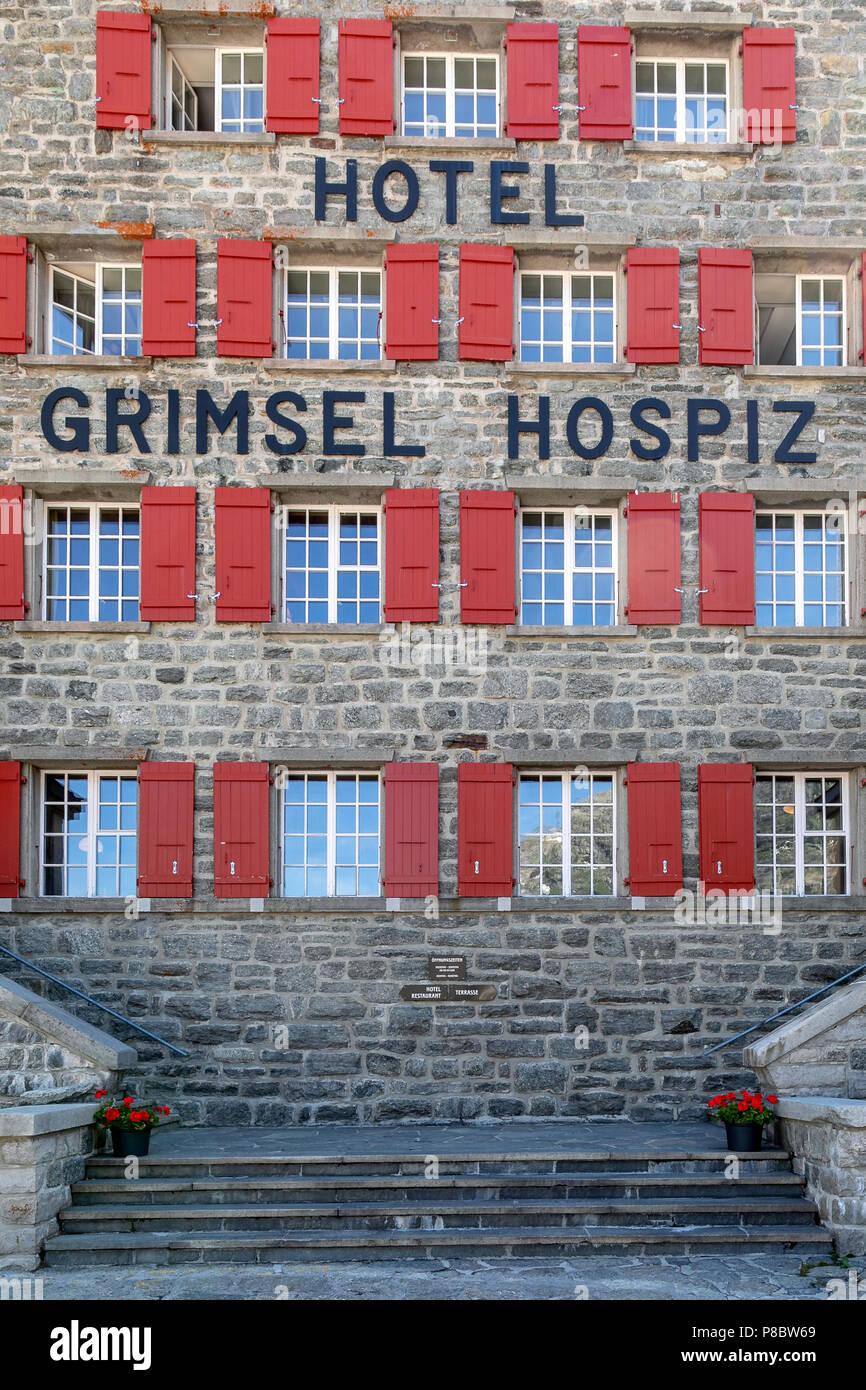 Hotel Grimsel Hospiz, Grimselpass, Switzerland - Stock Image