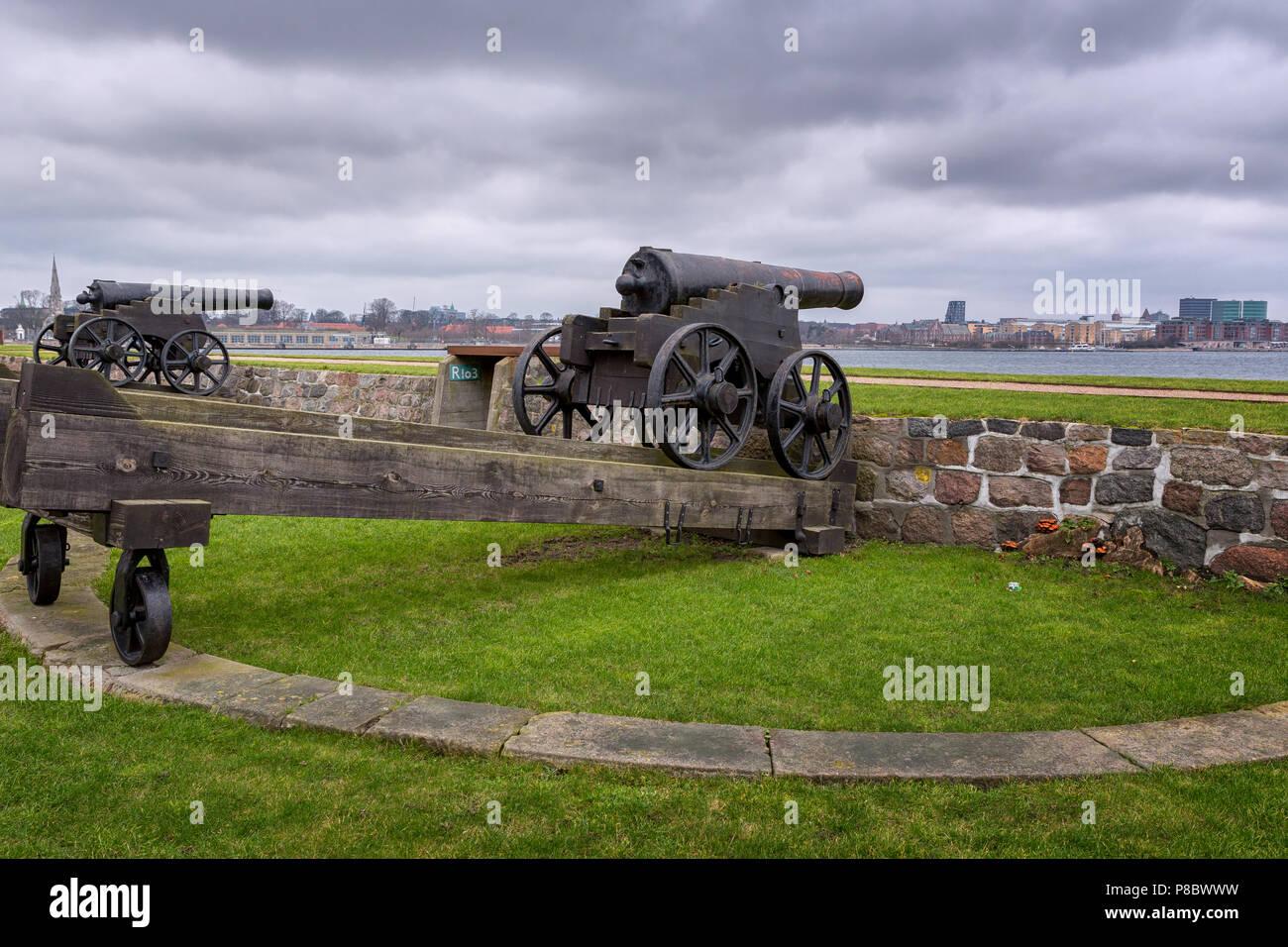 Old canons at Holmen Naval Base, Nyholm, Copenhagen, Denmark - Stock Image