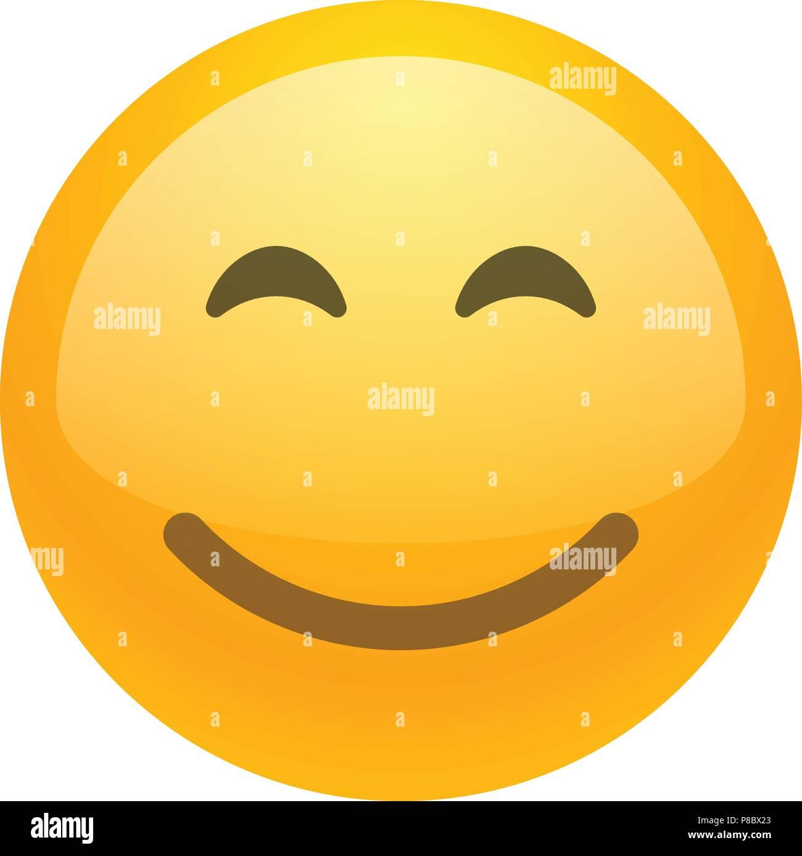 Smile face emoji vector icon - Stock Image