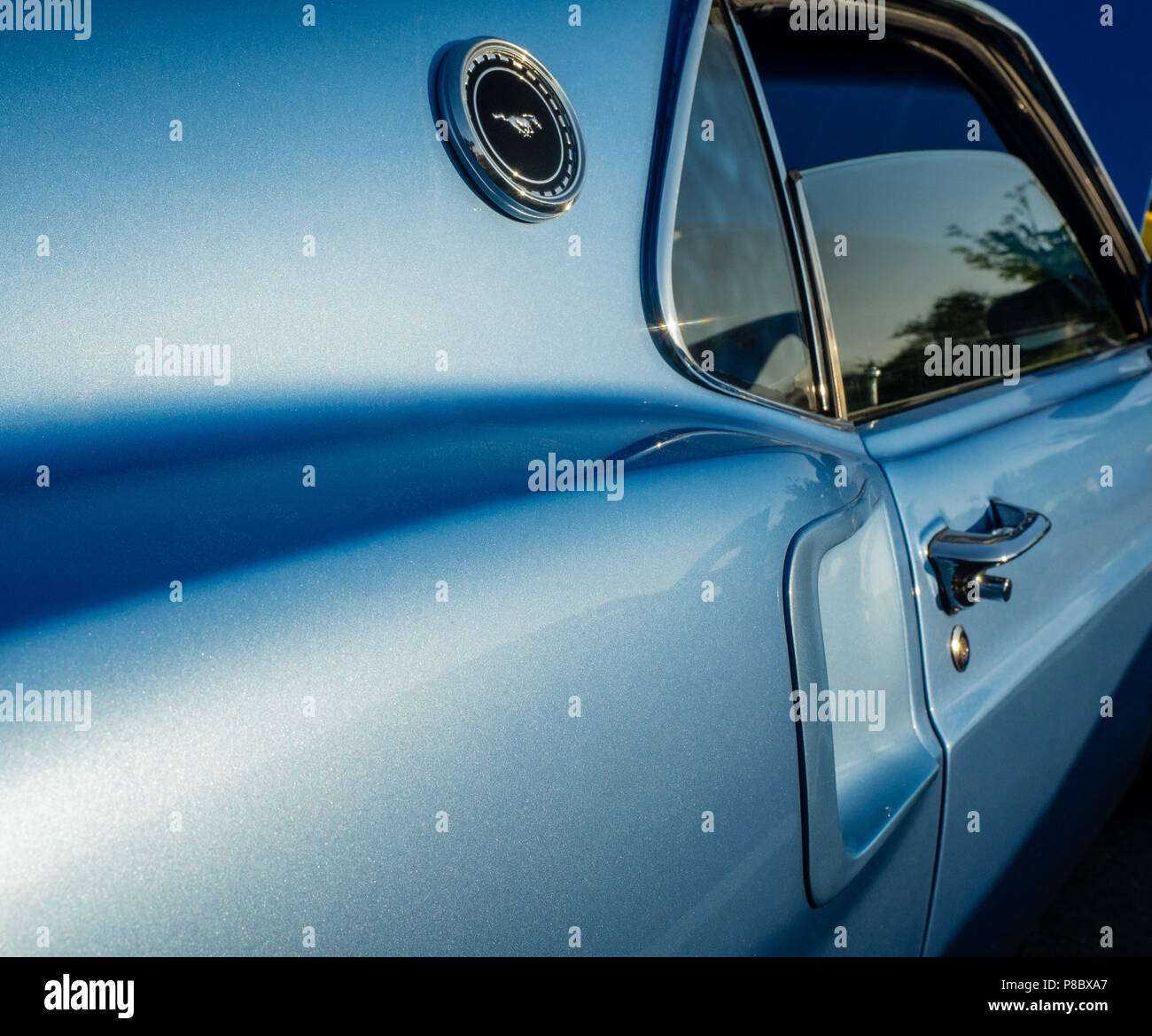 1969 classic Ford Mustang at car show in the Hamptons, New York. - Stock Image