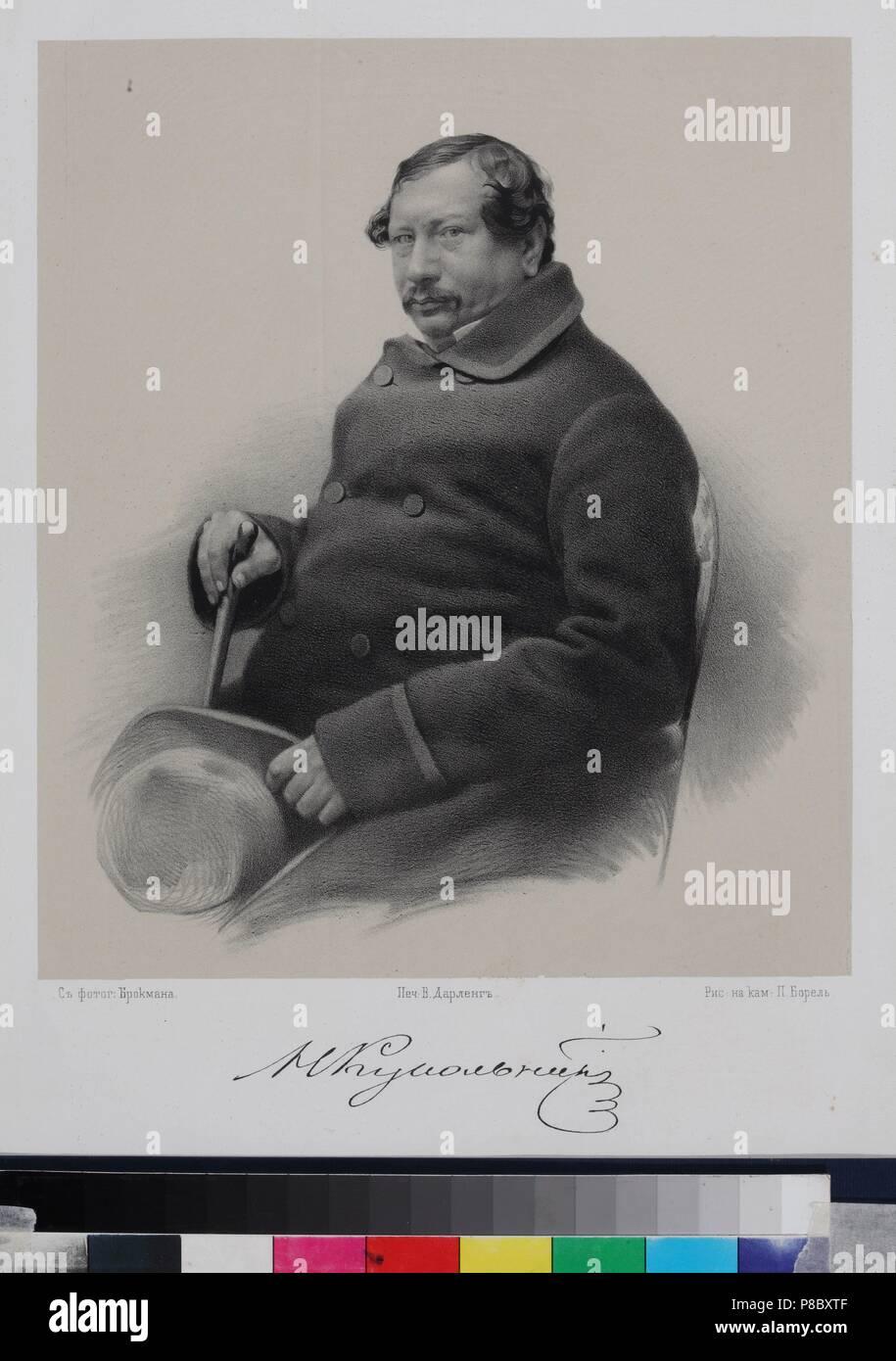Portrait of the author Nestor Vasilievich Kukolnik (1809-1868). Museum: I. Turgenev Memorial Museum, Moscow. - Stock Image