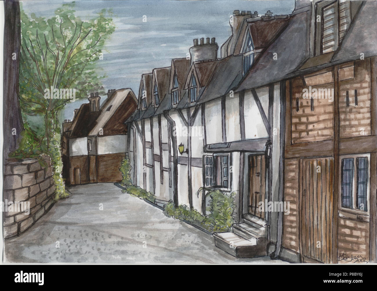 a row of houses in england painting by Matthew Corrigan - Stock Image