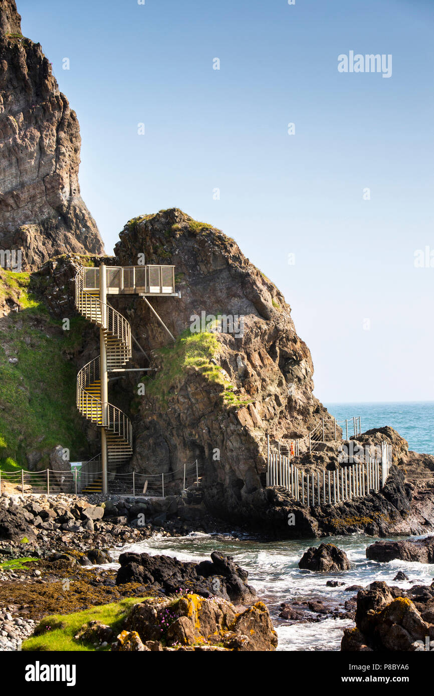 UK, Northern Ireland, Co Antrim, Islandmagee, spiral staircase to viewpoint at start of The Gobbins Walk cliff path Stock Photo