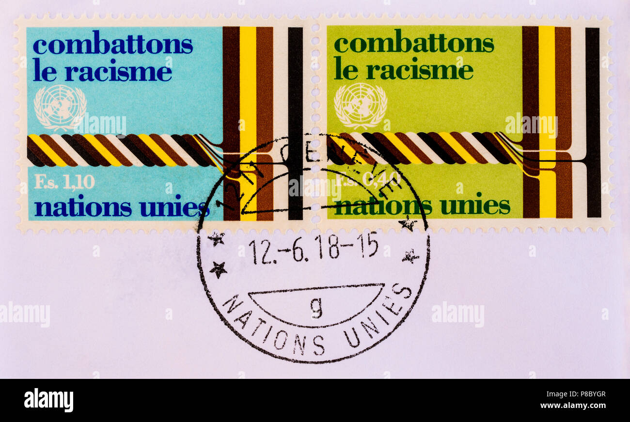 Pair of used Swiss 'Combattons le Racisme' stamps. - Stock Image