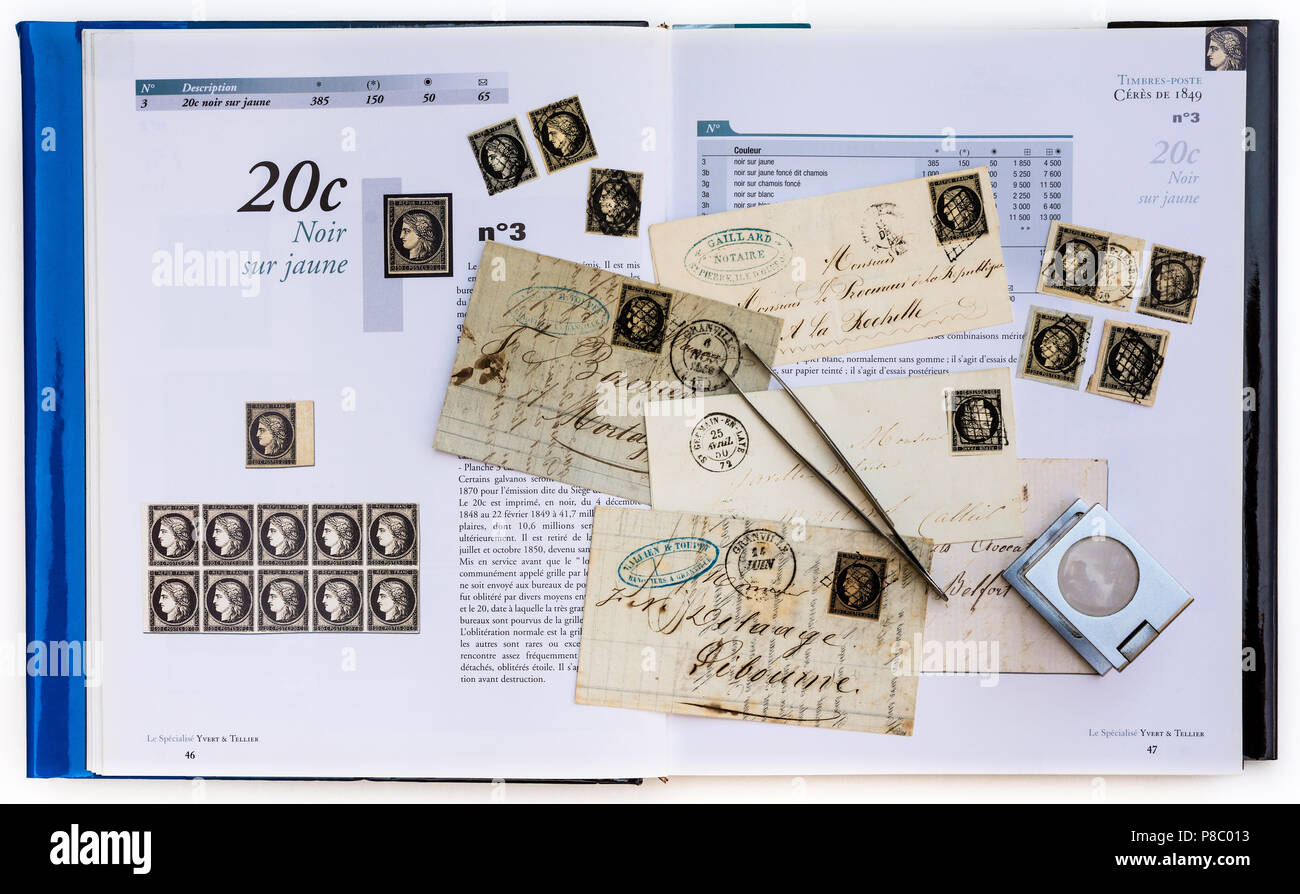 1849-1850 French postal history letters, stamps and specialised catalogue handbook - 20c Cérès was the first French postage stamp. Stock Photo