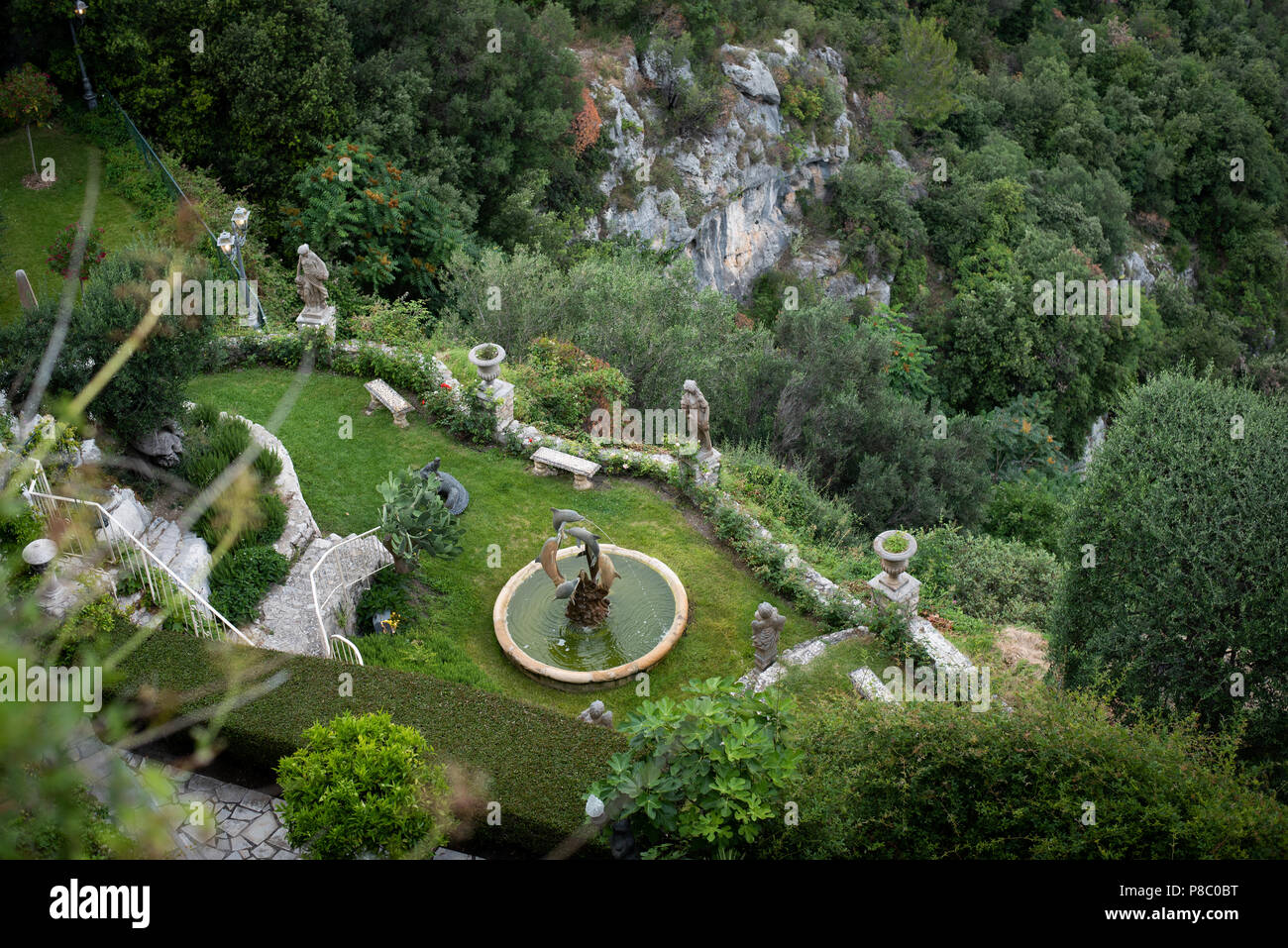 View over Chateau de la Chevre D'Or hotel in Eze, near Nice, France - Stock Image